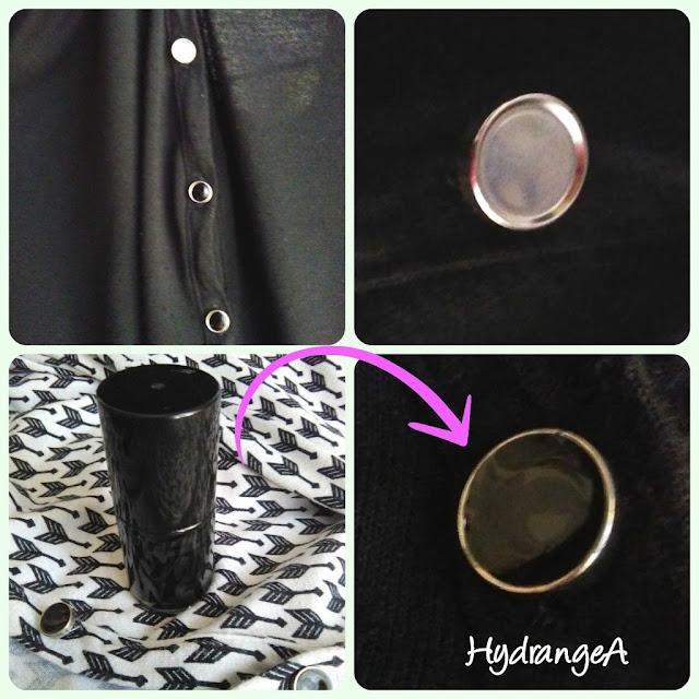 Con un esmalte de uñas negro arreglo un botón de una camisa