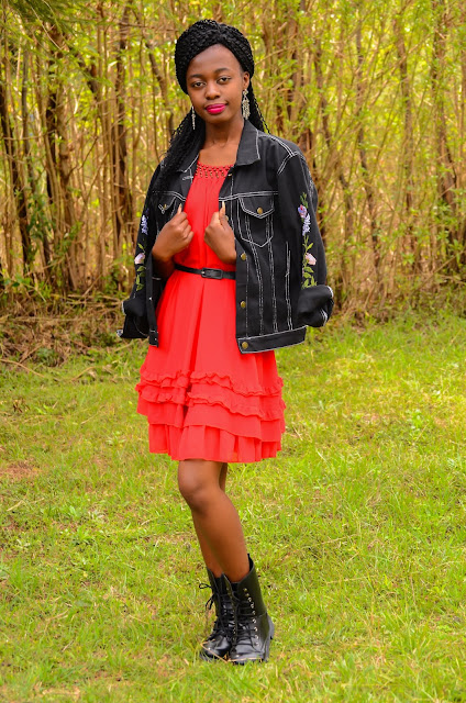 Wearing An Embroidered Black Denim Jacket Outfit With A Dress