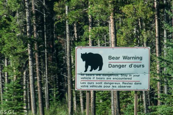 Peligro con los osos, cartel de advertencia de las montañas rocosas en Canada