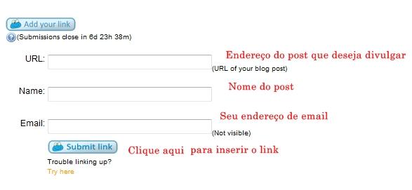 Amostra do formulário para inserir links