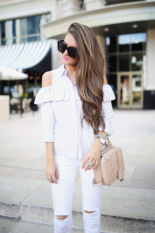 blue and white cold shoulder top