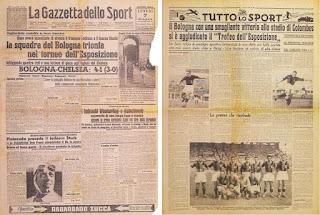 Il trionfo del Bologna sui giornali italiani.