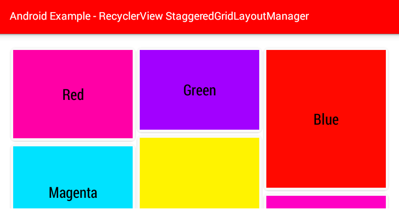 Android RecyclerView StaggeredGridLayoutManager Example