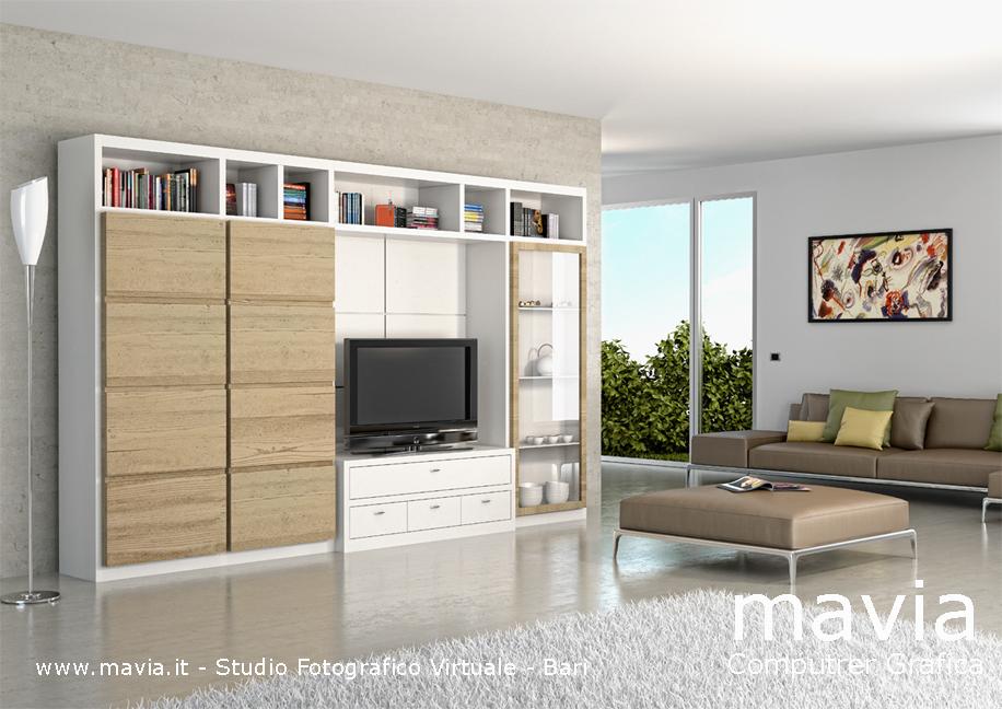 Arredamento di interni 3d rendering di interni parete for Parete attrezzata moderna soggiorno