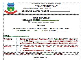 Contoh SK Panitia Penerimaan Peserta Didik Baru (PPDB)