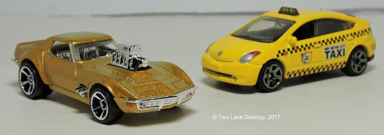 Hot Wheels Gas Monkey Garage 1968 Corvette And Matchbox Toyota Prius Taxi
