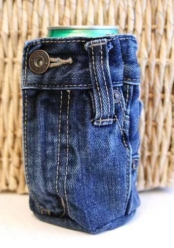 Tempat kaleng dari bahan celana jeans bekas