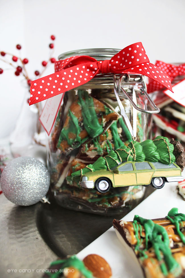 christmas gift packaging, jar of holiday bark, hallmark, holiday gift idea