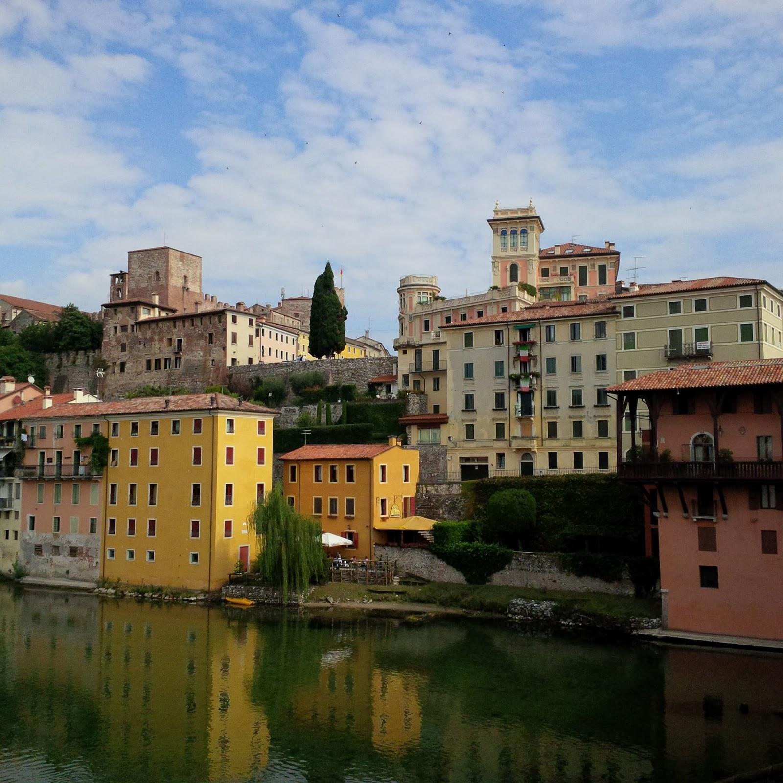 The river Brenta and Bassano del Grapa, Veneto, Italy