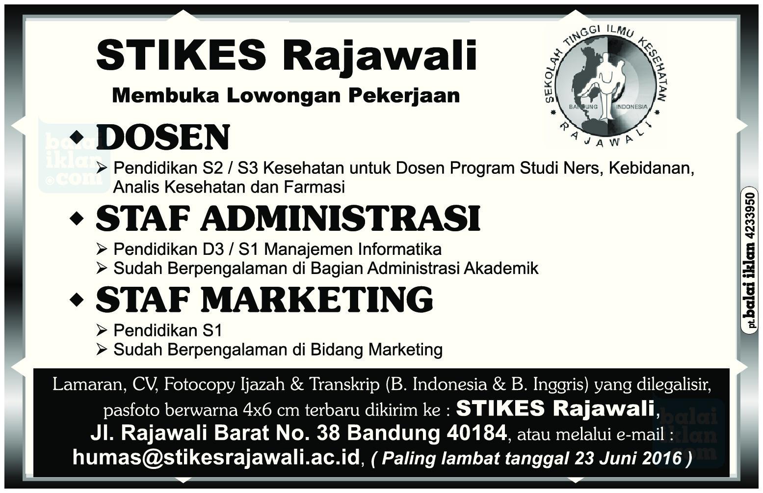 Lowongan Kerja STIKES Rajawali Juni 2016