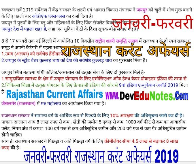 जनवरी-फरवरी 2019 राजस्थान करंट अफेयर्स