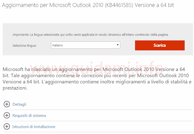 Area download sito Microsoft pagina download kb4461585 per Outlook 2010