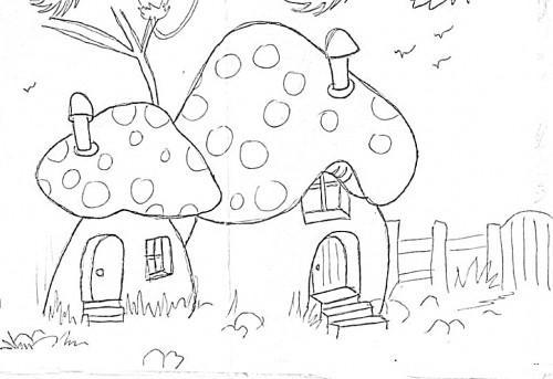 Artes da nil riscos e rabiscos casinhas de cogumelo - Casas de patchwork ...