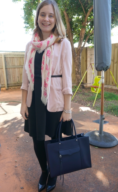 pink belted boyfriend blazer for the office LBD heels Alexander McQueen skull scarf