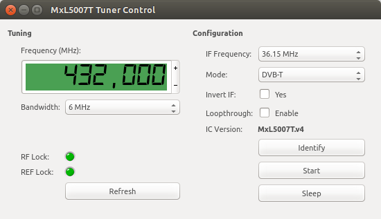 MxL5007T tuner I2C control software screenshot