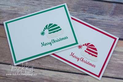 Minimalist Santa and Elf Hat Christmas Card - Free Tutodial Available.  Made with Stampin' Up! UK Supplies which you can buy here