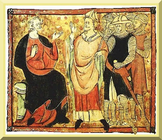 14th-century depiction of Becket (center) with King Henry II - PD-1923