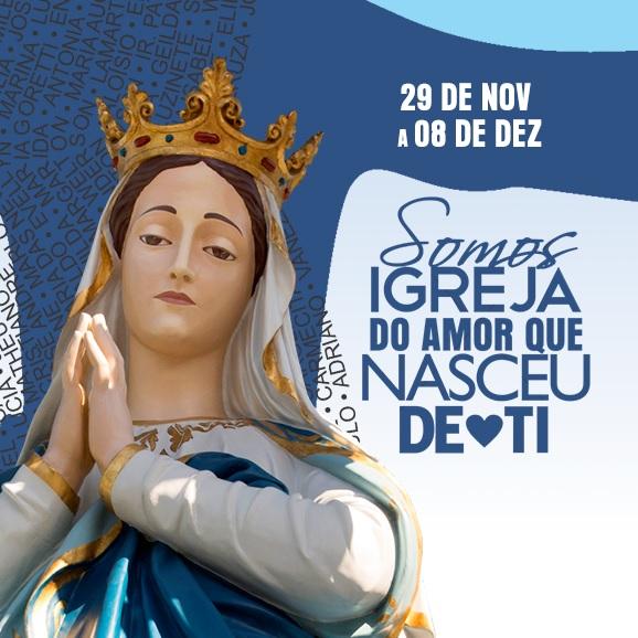 Banner da Festa do Morro da Conceição contendo a imagem de nossa senhora da conceição