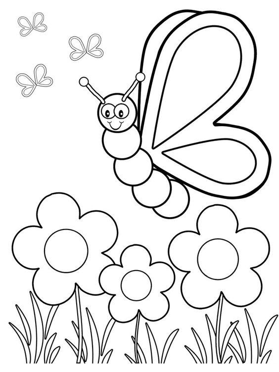 Tranh tô màu con bướm cho bé 5 tuổi
