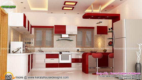 Kitchen red interior