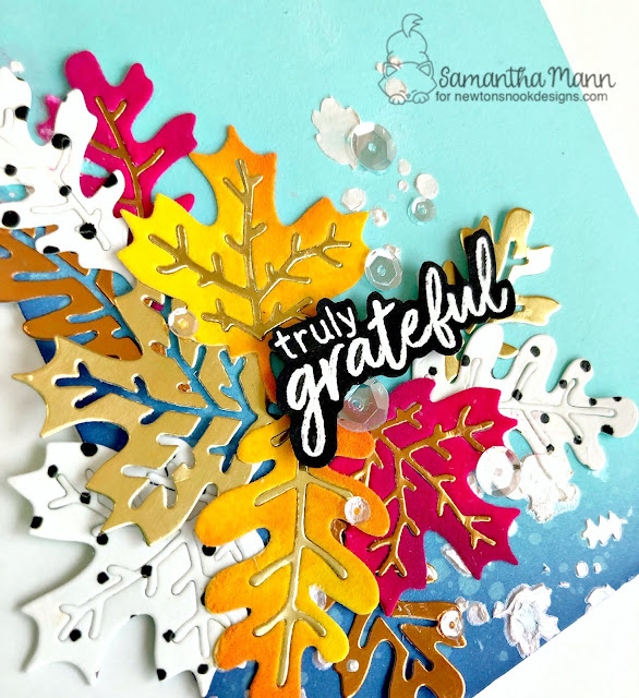 Truly Grateful Card by Samantha Mann for Newton's Nook Designs and ThermOWeb Collaboration, flock, autumn, fall, cards, handmade cards, distress inks, ink blending, texture, stencil #newtonsnook #thankyoucard #leaves #flock