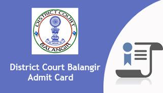 District Court Balangir Junior Clerk Copyist Admit Card