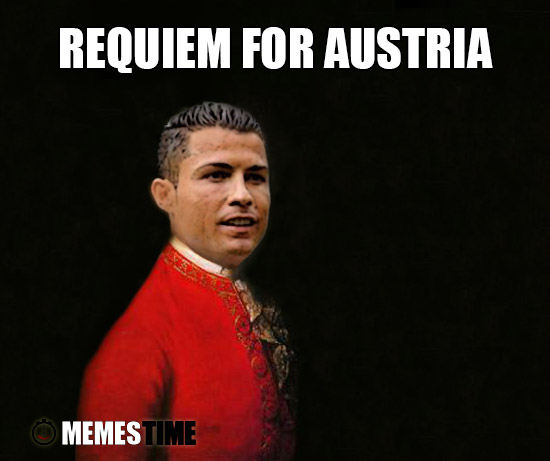 Meme Cristiano Ronaldo as Mozart – Requiem for Austria