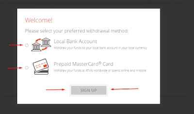 Choose the method for withdraw