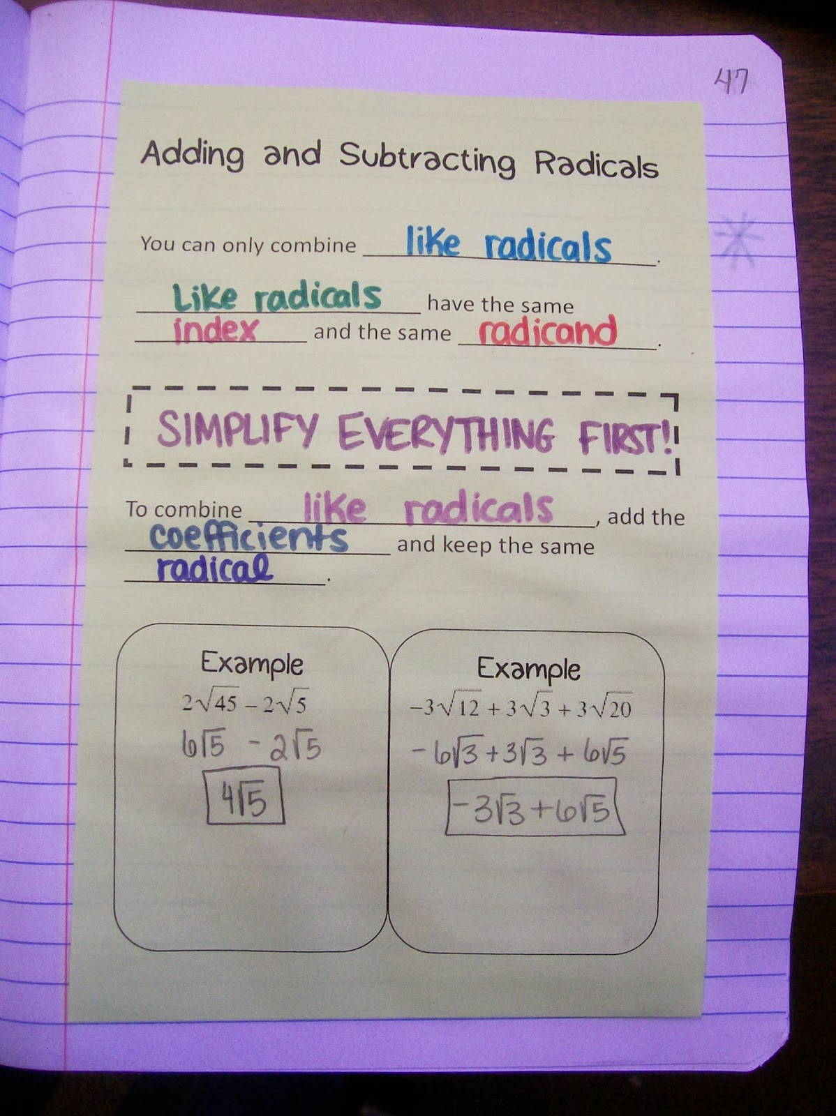 Adding and Subtracting Like Radicals Notes