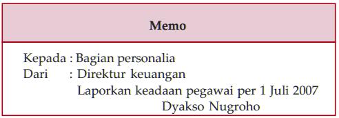 Soal tentang memo bahasa indonesia