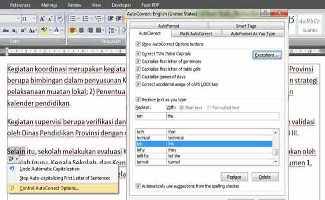 Cara Mengatur Auto Current Pada Office Word