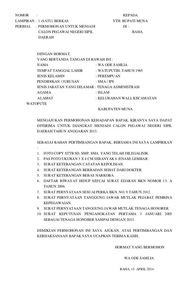 82 Contoh Surat Lamaran Kerja Kementerian Pu
