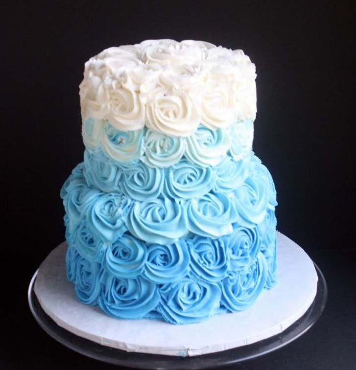 Blue Ombre Wedding Cake Buttercream Design Ideas