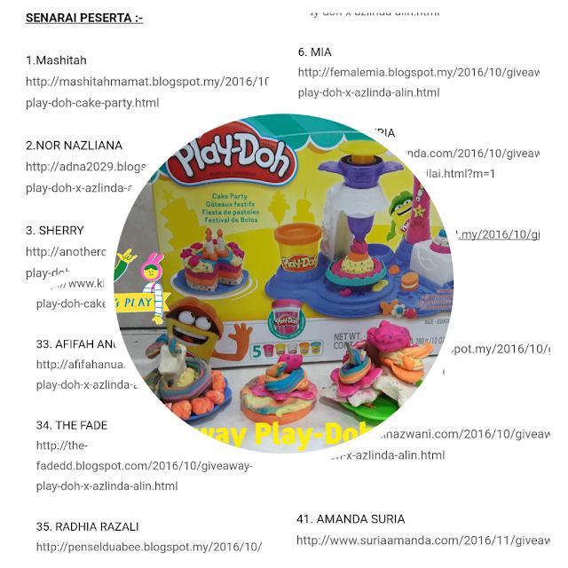 Pemenang Giveaway Play-Doh Cake Party Bernilai RM99.90 x Azlinda Alin.