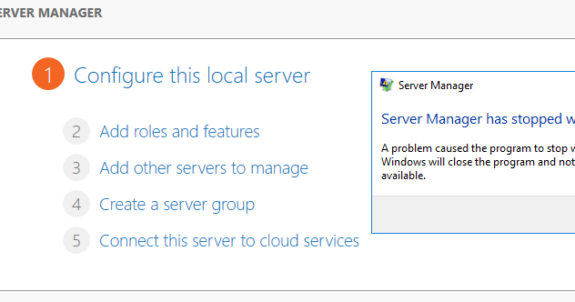 Server Manager Has Stopped Working 2012 R2 Kernelbase Dll
