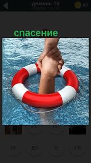 круг на воде сквозь которой две руки в качестве спасения