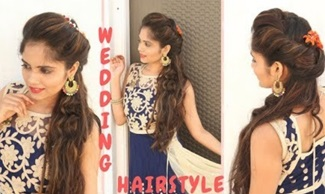 Indian Wedding Hairstyle for Medium Hair | Curly Hair Hairstyle