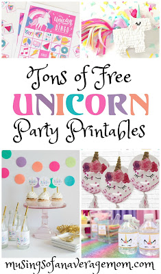 free unicorn party printables