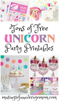 free unicorn party printables