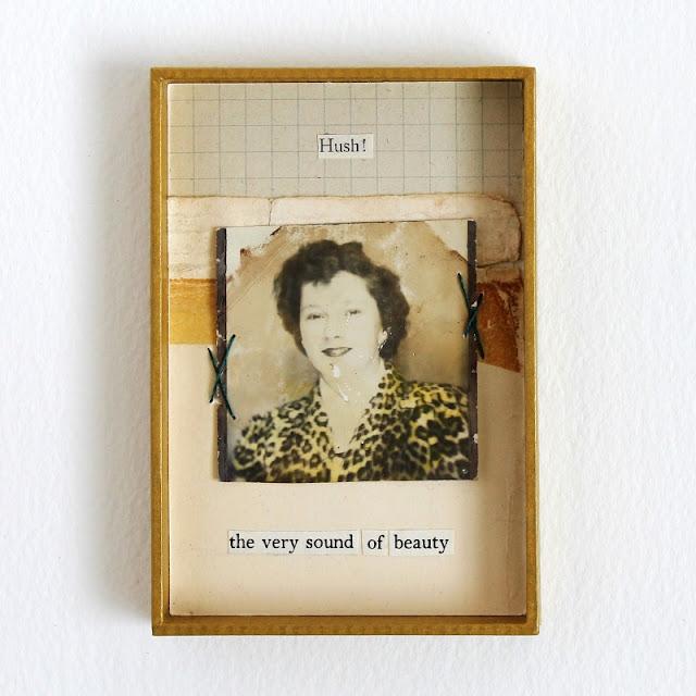hush! - mixed media collage by Kaija Rantakari / paperiaarre.com