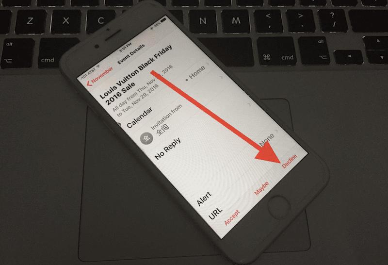 decline calendar invite on iphone