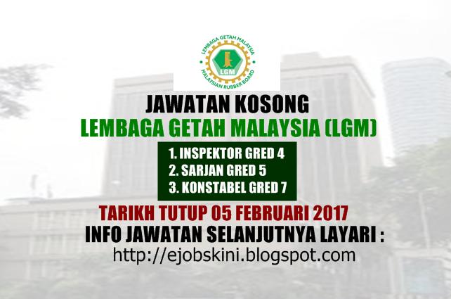 Jawatan Kosong Lembaga Getah Malaysia (LGM) Februari 2017