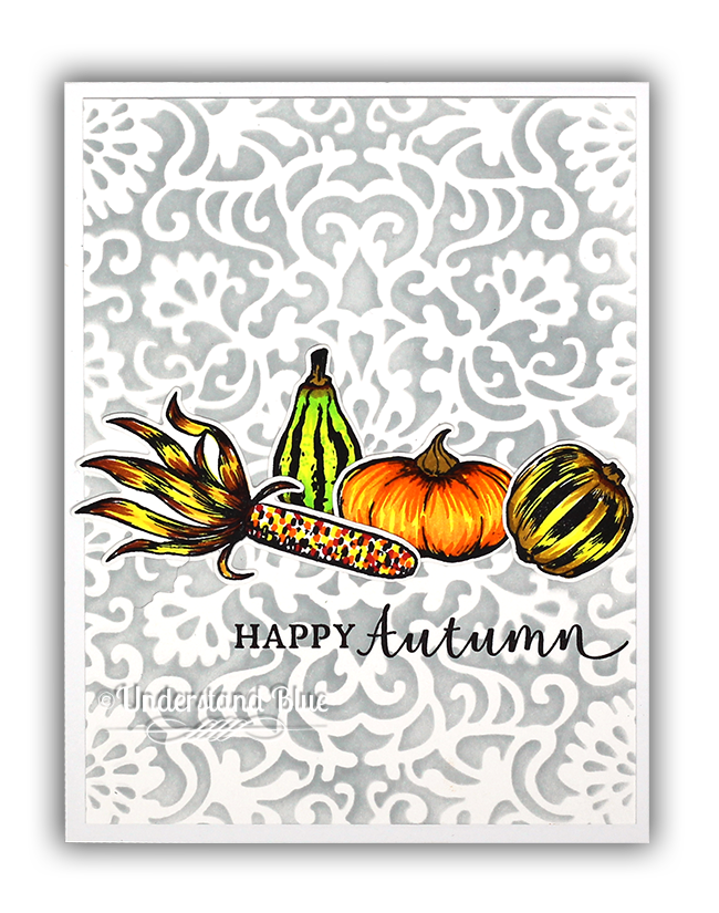 Hero Arts fall gourds card by Understand Blue