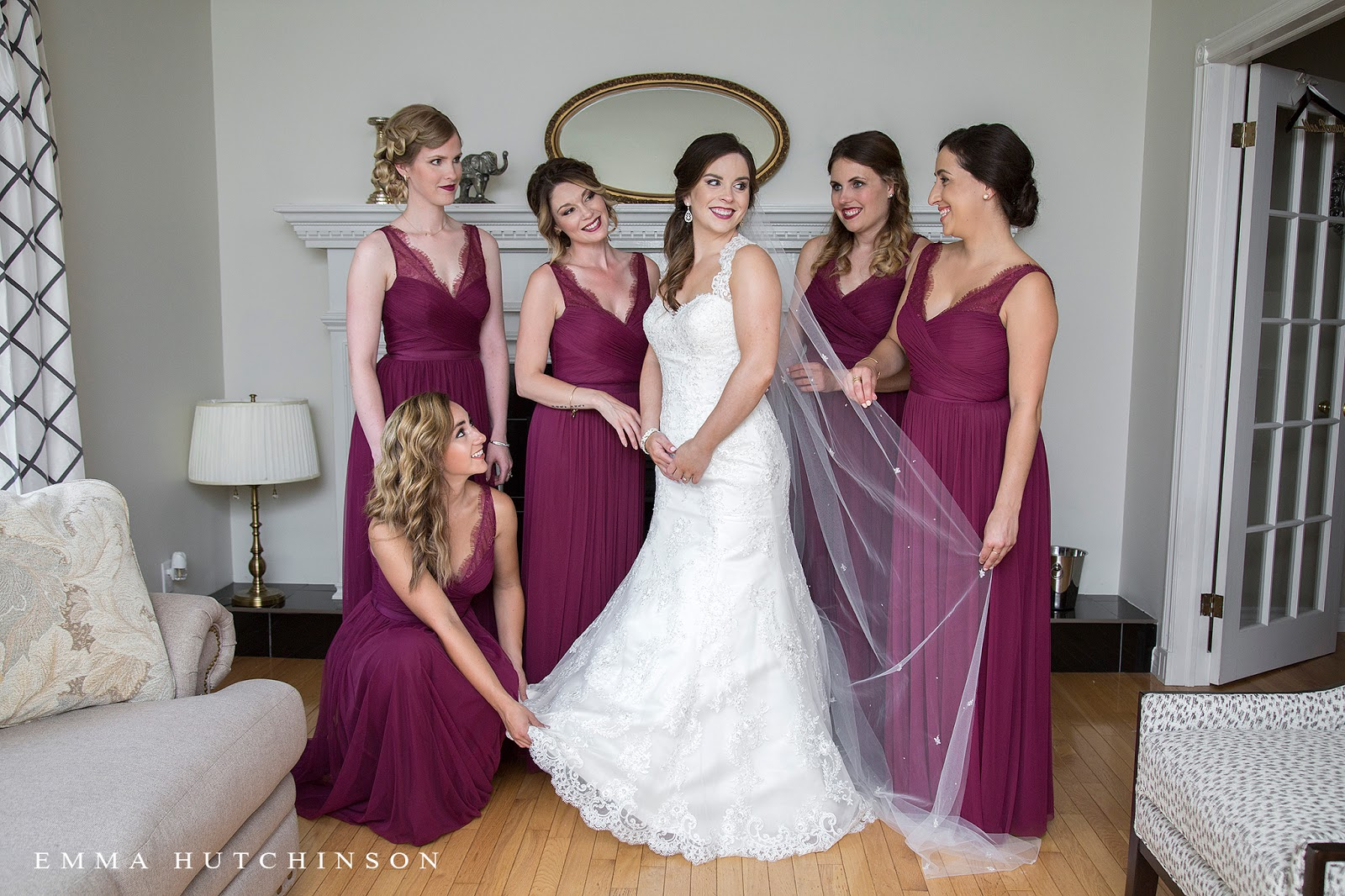 Weddings at the Grand Falls Golf Club - red wine chiffon bridesmaid dresses with lace v-neck