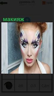 1100 слов налицо девушка нанесла странный макияж 25 уровень