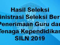 Hasil Seleksi Administrasi Penerimaan Guru dan Tenaga Kependidikan SILN Tahun 2019