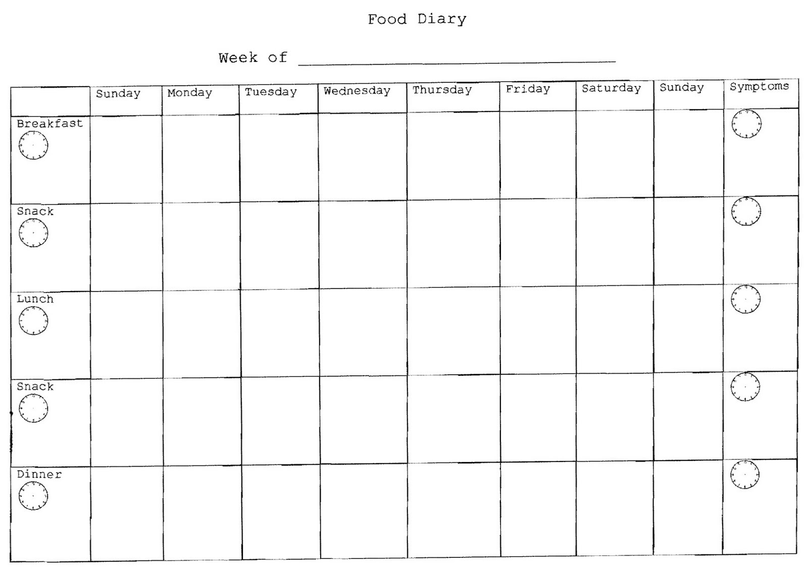 Doc28472240 Food Diary Template Download 5 Free Food Journal – Food Log Template