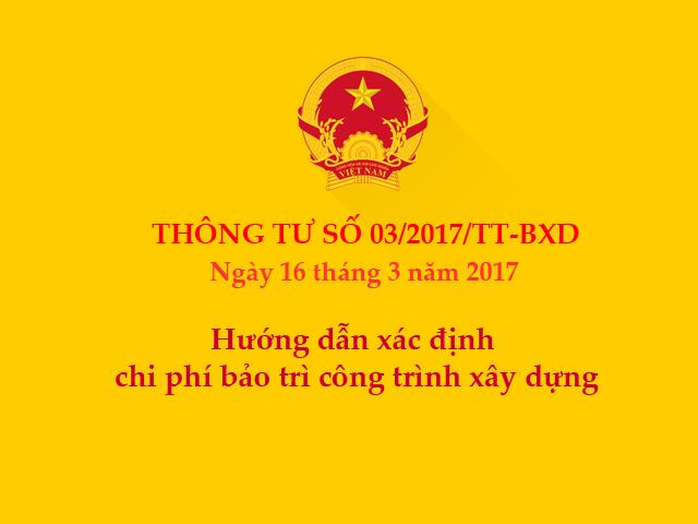 Thông tư số 03/2017/TT-BXD ngày 16/3/2017 của Bộ Xây dựng