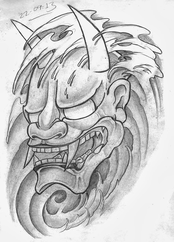 74c10c3e0d7e4 Hannya mask with waves design. A bit messy this one again from the soft  pencil.