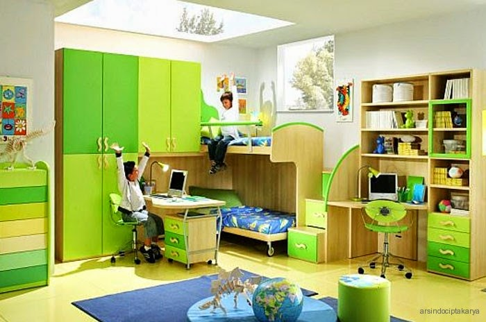 Desain kamar anak paling unik dan cantik nuansa hijau